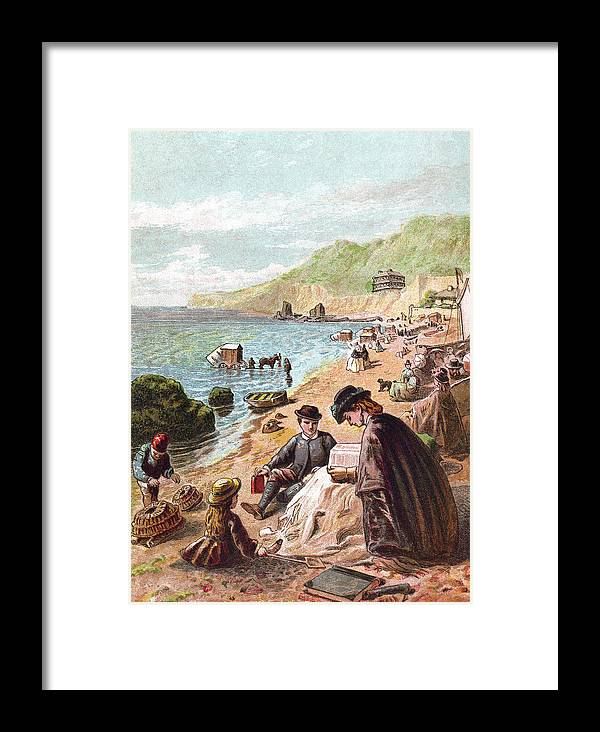 Horse Framed Print featuring the digital art July - Victorians At The Seaside by Whitemay