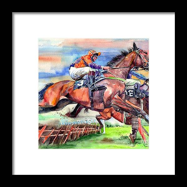 Horse Framed Print featuring the painting Jump Racing by Suzann Sines