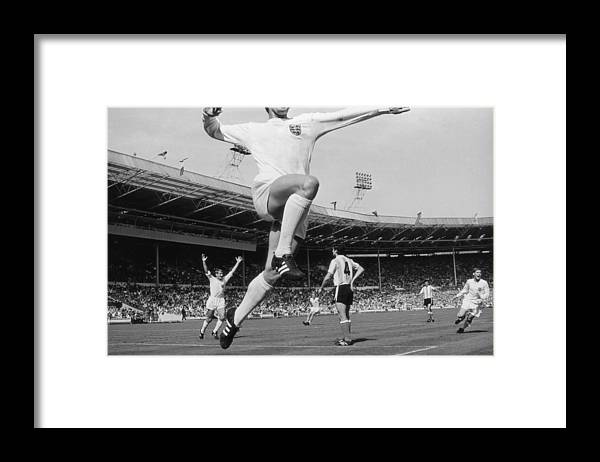 International Match Framed Print featuring the photograph Jumping Geoff by Central Press