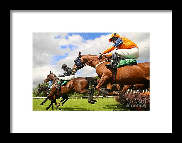Game Framed Print featuring the photograph Jumping Horses by Neil Roy Johnson