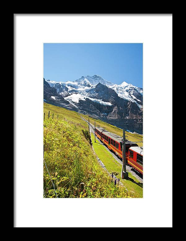 Scenics Framed Print featuring the photograph Jungfraubahn, Swiss Alps by Michaelutech