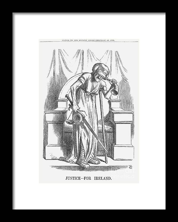 Engraving Framed Print featuring the drawing Justice - For Ireland, 1866. Artist by Print Collector