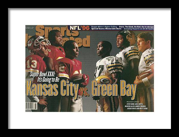 Brett Favre Framed Print featuring the photograph Kansas City Chiefs Vs Green Bay Packers, 1996 Nfl Football Sports Illustrated Cover by Sports Illustrated