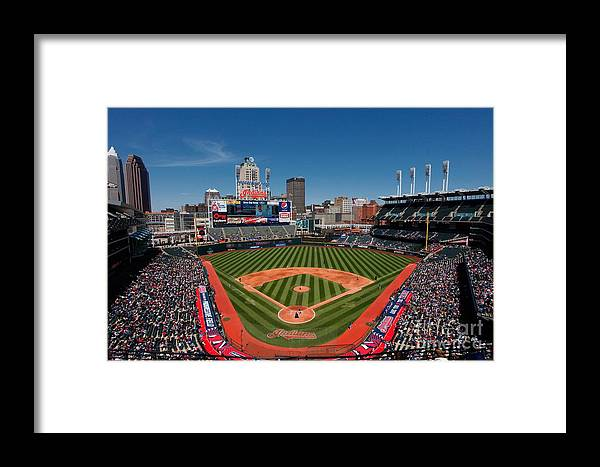 American League Baseball Framed Print featuring the photograph Kansas City Royals V Cleveland Indians by Joe Robbins