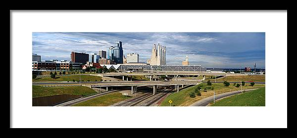 Panoramic Framed Print featuring the photograph Kansas City Skyline, Missouri by Jeremy Woodhouse