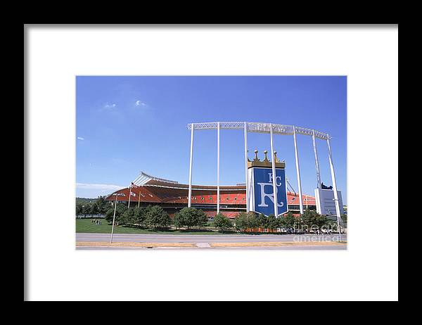American League Baseball Framed Print featuring the photograph Kauffman Stadium by Stephen Dunn