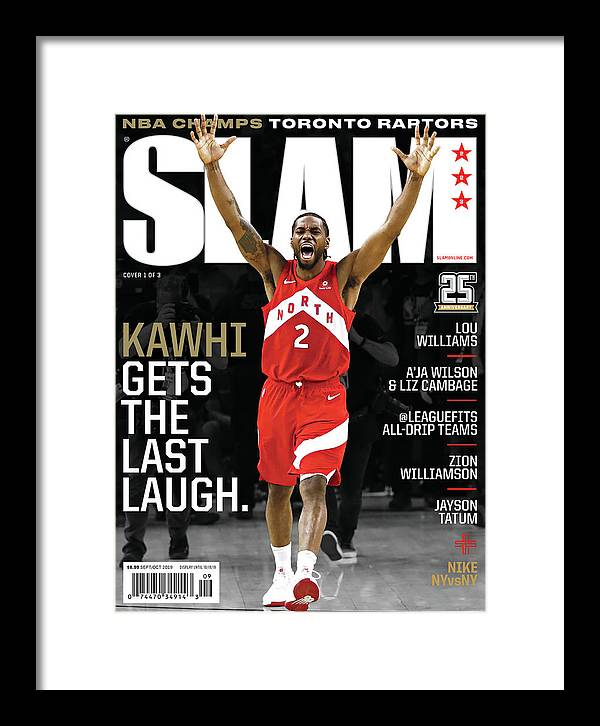 Kawhi Leonard Framed Print featuring the photograph Kawhi Gets the Last Laugh. SLAM Cover by Getty Images