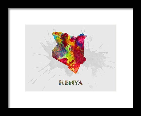 Kenya Framed Print featuring the mixed media Kenya, Map, Artist Singh by Artist Singh