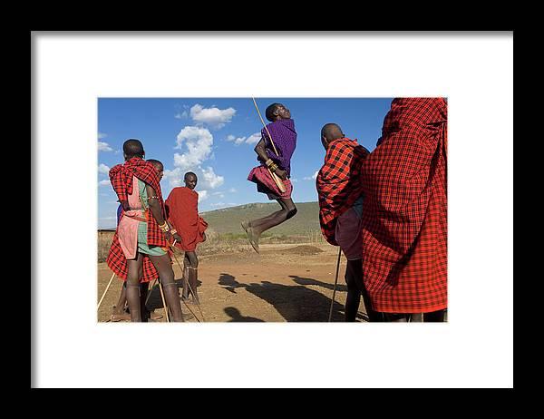 Young Men Framed Print featuring the photograph Kenya, Masai Mara, Masai Dancers by Peter Adams