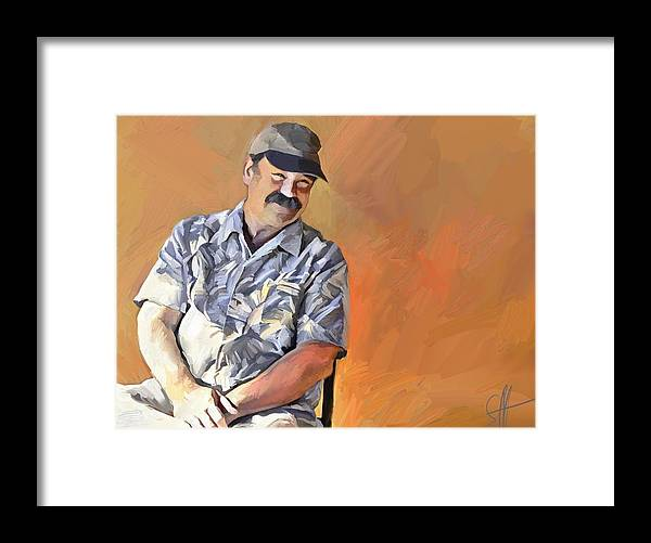 Portrait Framed Print featuring the digital art Kevin by Scott Waters