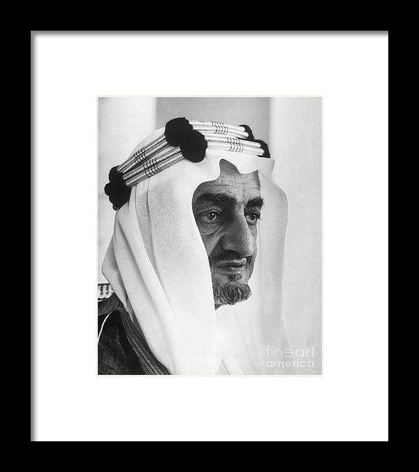 People Framed Print featuring the photograph King Faisal by Bettmann