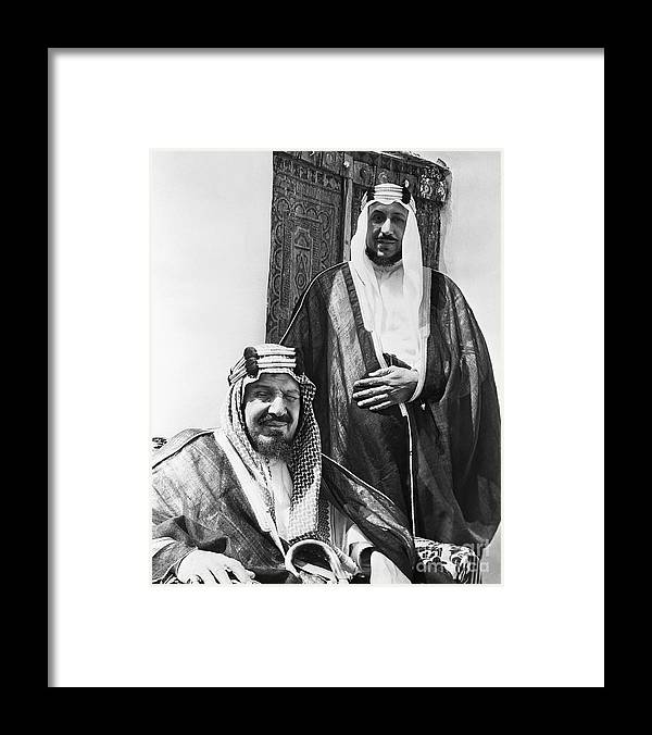 Mature Adult Framed Print featuring the photograph King Ibn Saud And Son Saud Aziz by Bettmann