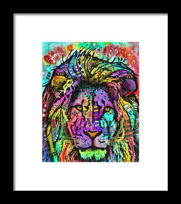 King Of The Jungle Framed Print featuring the mixed media King Of The Jungle by Dean Russo- Exclusive
