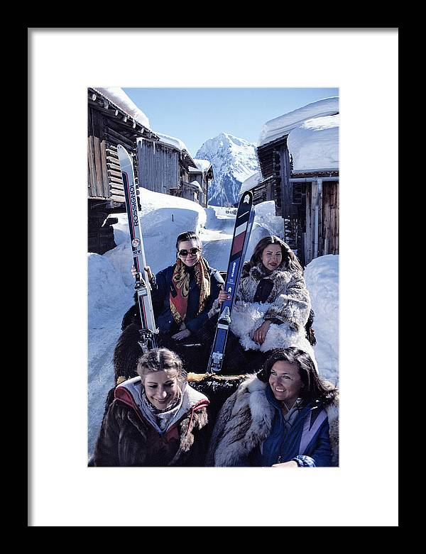 Skiing Framed Print featuring the photograph Klosters Skiing by Slim Aarons