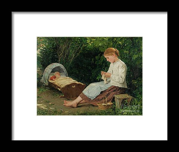 Toddler Framed Print featuring the drawing Knitting Girl Watching The Toddler by Heritage Images