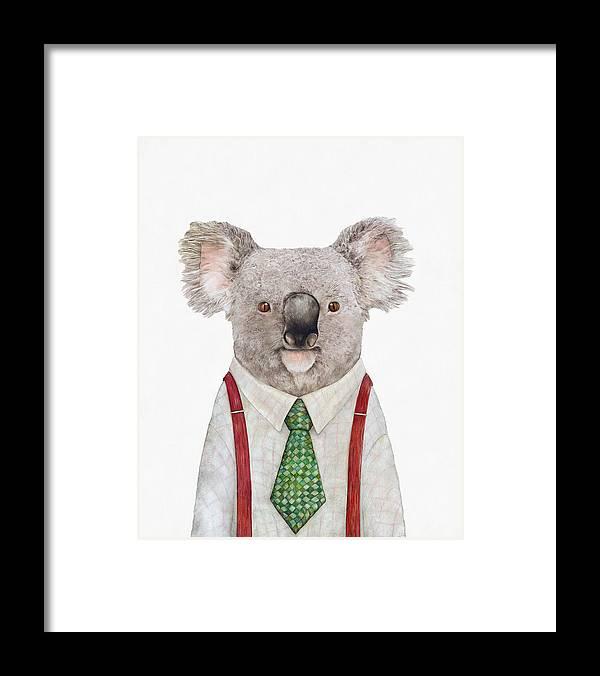 Koala Framed Print featuring the painting Koala by Animal Crew