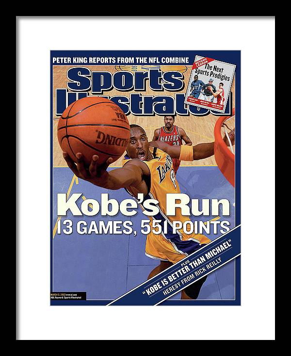 Magazine Cover Framed Print featuring the photograph Kobes Run 13 Games, 551 Points Sports Illustrated Cover by Sports Illustrated
