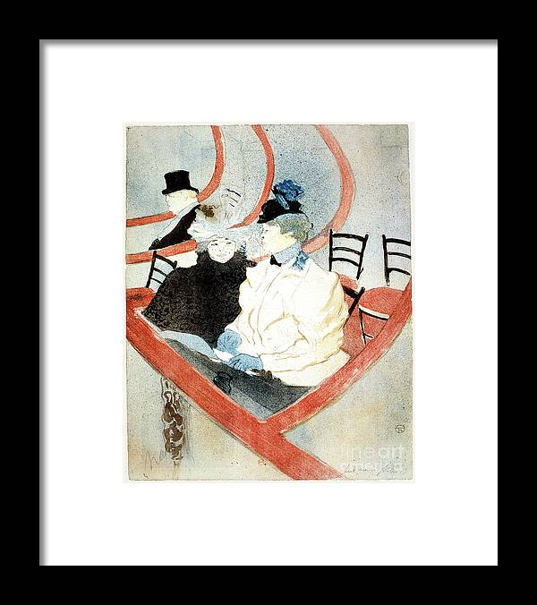Recreational Pursuit Framed Print featuring the drawing La Grande Loge The Royal Box by Print Collector
