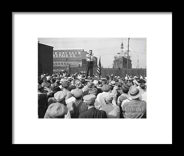 Employment And Labor Framed Print featuring the photograph Labor Organizer Addressing Open Meeting by Bettmann