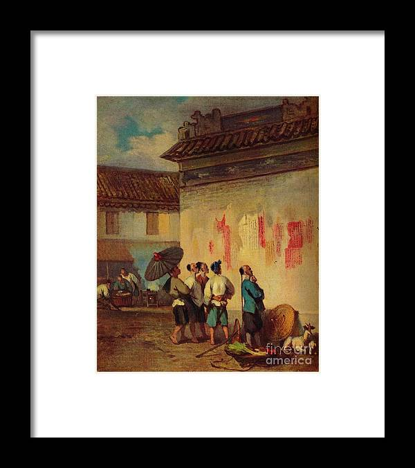 Macao Framed Print featuring the drawing Labourer Reading A Proclamation, Macao by Print Collector