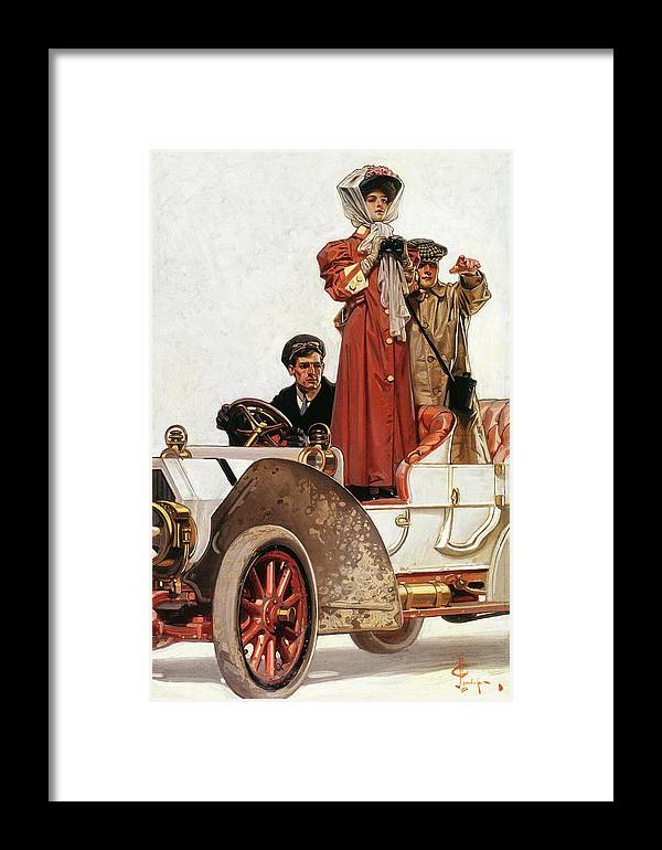 Joseph Christian Leyendecker Framed Print featuring the painting Lady And Car - Digital Remastered Edition by Joseph Christian Leyendecker