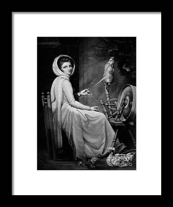 Oil Painting Framed Print featuring the drawing Lady Hamilton As The Spinstress by Print Collector