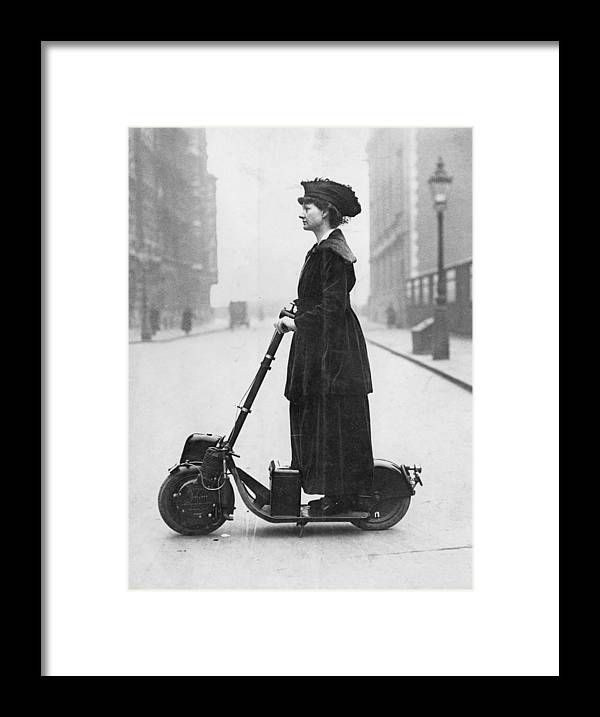 People Framed Print featuring the photograph Lady Normans Scooter by Fpg
