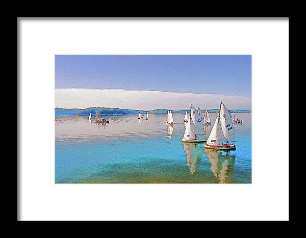 Water Framed Print featuring the digital art Lake Lanier by Randy Sprout