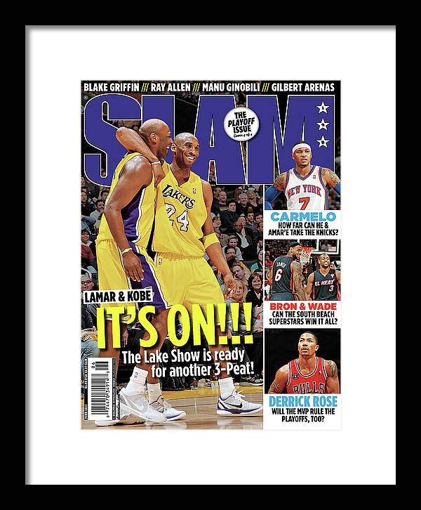 Kobe Bryant Framed Print featuring the photograph Lamar & Kobe: It's On!!! SLAM Cover by Getty Images