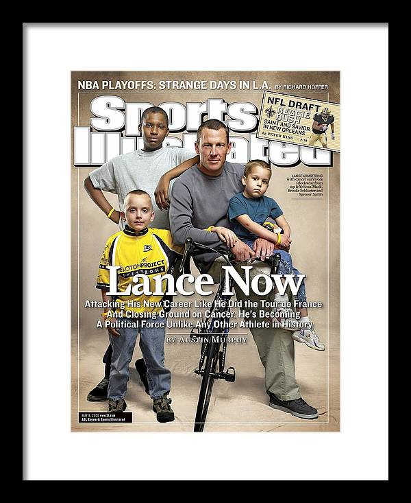 Magazine Cover Framed Print featuring the photograph Lance Now Attacking His New Career Like He Did The Tour De Sports Illustrated Cover by Sports Illustrated