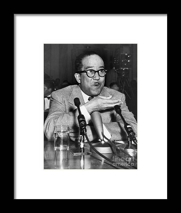 People Framed Print featuring the photograph Langston Hughes Testifying by Bettmann