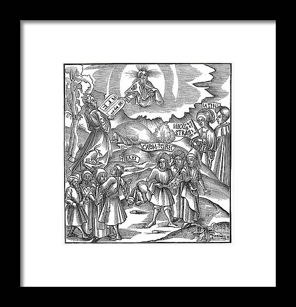 People Framed Print featuring the drawing Languages Moses Receiving From God by Print Collector