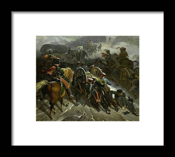 Taunay Framed Print featuring the painting L'armee Francaise Traverse Les Defiles De La Sierra Guadarrama by Nicolas-Antoine Taunay