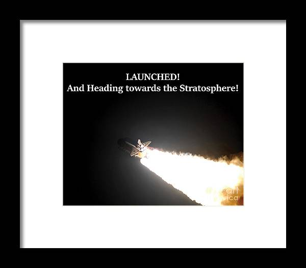 Space Shuttle Framed Print featuring the photograph Launched And Heading Towards The Stratosphere by G Matthew Laughton