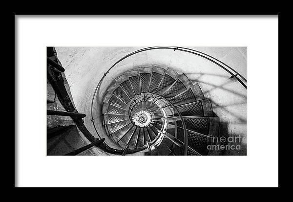 Napoleonic Framed Print featuring the photograph Lblack And White View Of Spiral Stairs Inside The Arch De Triump by PorqueNo Studios