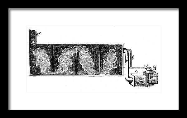 Engraving Framed Print featuring the drawing Lead Chamber For Production by Print Collector