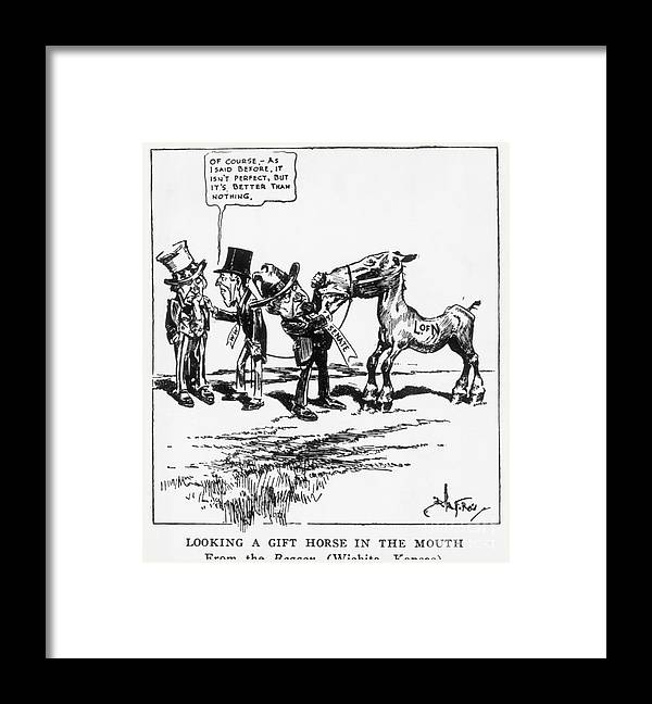People Framed Print featuring the photograph League Of Nations Political Cartoon by Bettmann