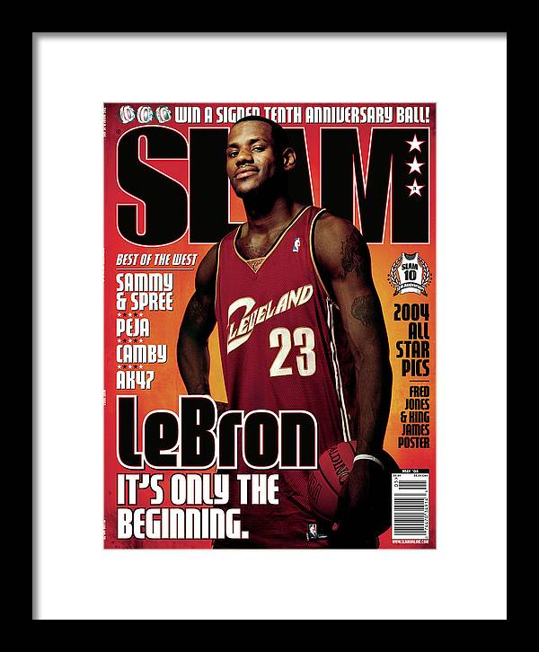 Lebron James Framed Print featuring the photograph LeBron James: It's Only the Beginning SLAM Cover by Clay Patrick McBride