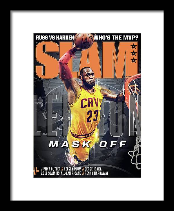 Lebron James Framed Print featuring the photograph LeBron: Mask Off SLAM Cover by Getty Images