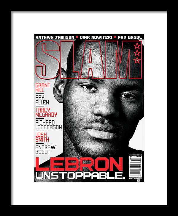 Lebron James Framed Print featuring the photograph LeBron: Unstoppable SLAM Cover by Clay Patrick McBride