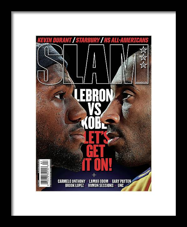 Lebron James Framed Print featuring the photograph Lebron vs. Kobe: Let's Get it On! SLAM Cover by Getty Images