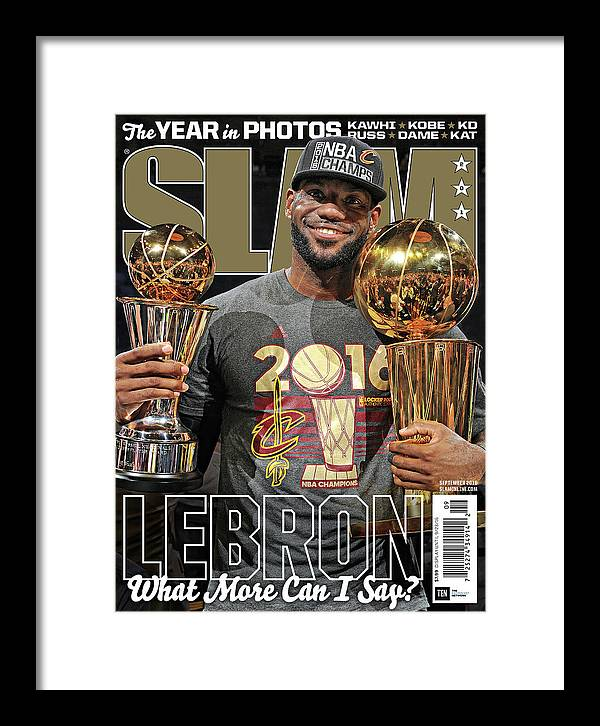 Lebron James Framed Print featuring the photograph LeBron: What More Can I Say? SLAM Cover by Getty Images