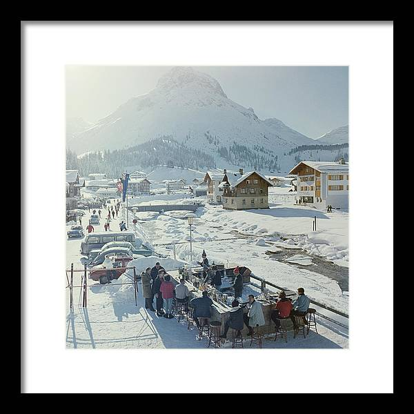 People Framed Print featuring the photograph Lech Ice Bar by Slim Aarons