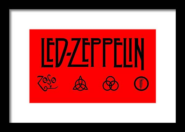 Led Zeppelin Framed Print featuring the digital art Led Zeppelin Z O S O - Transparent T-shirt Background by Daniel Hagerman