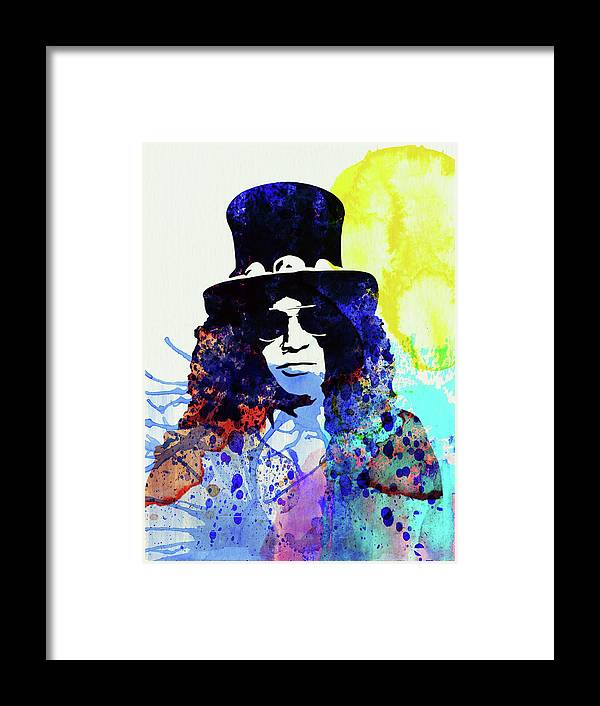 Slash Framed Print featuring the mixed media Legendary Slash Watercolor I by Naxart Studio