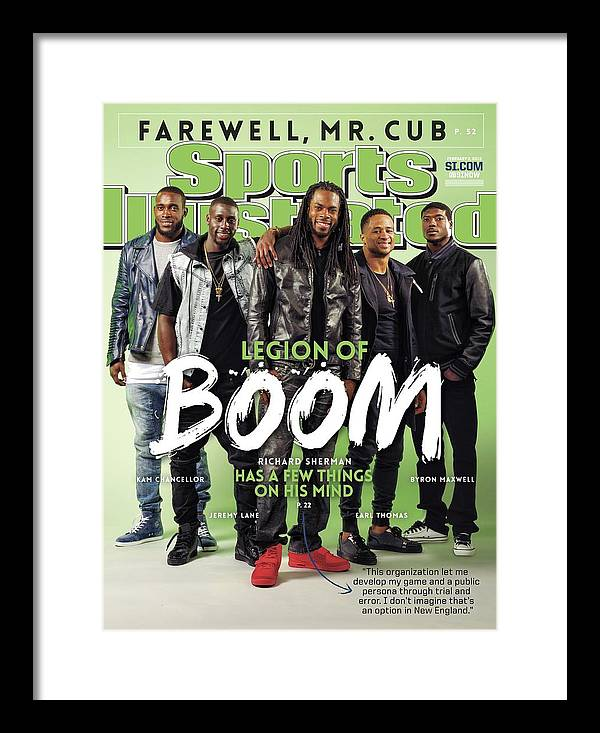 Magazine Cover Framed Print featuring the photograph Legion Of Boom, Super Bowl Xlix Preview Sports Illustrated Cover by Sports Illustrated
