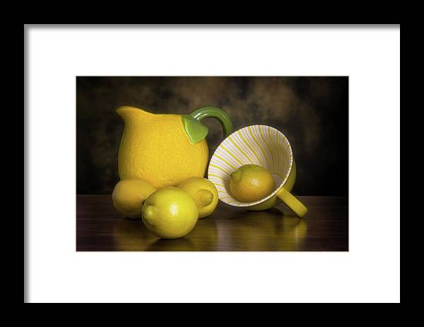 Lemon Framed Print featuring the photograph Lemons with Lemon Shaped Pitcher by Tom Mc Nemar