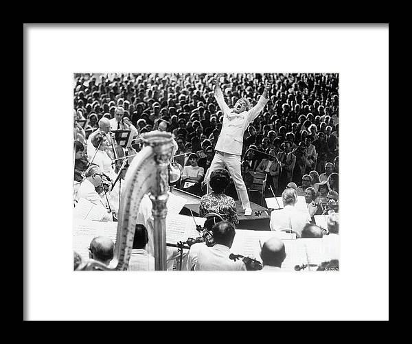 Crowd Of People Framed Print featuring the photograph Leonard Bernstein Conducting Boston by Bettmann