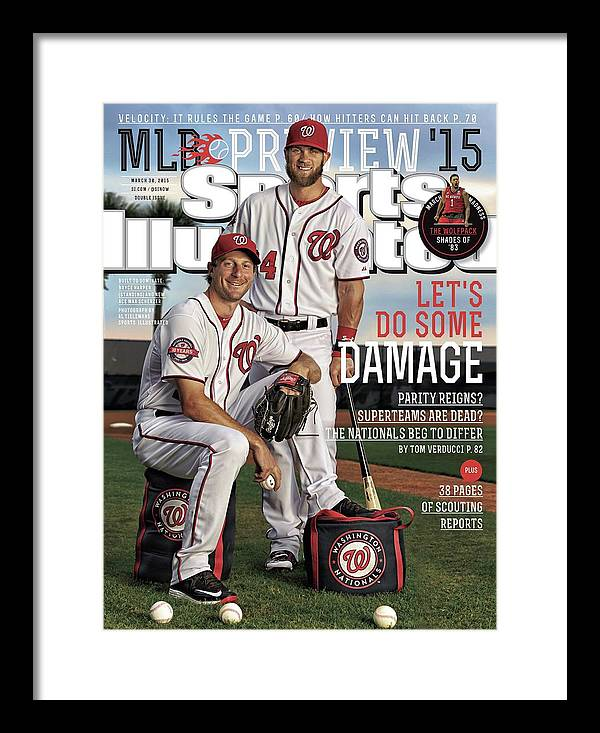Magazine Cover Framed Print featuring the photograph Lets Do Some Damage 2015 Mlb Baseball Preview Issue Sports Illustrated Cover by Sports Illustrated