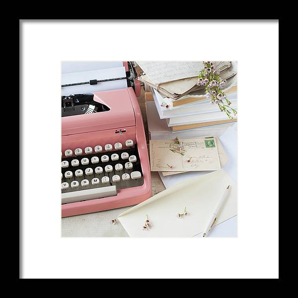 Office Framed Print featuring the photograph Letters By Antique Typewriter by Tetra Images